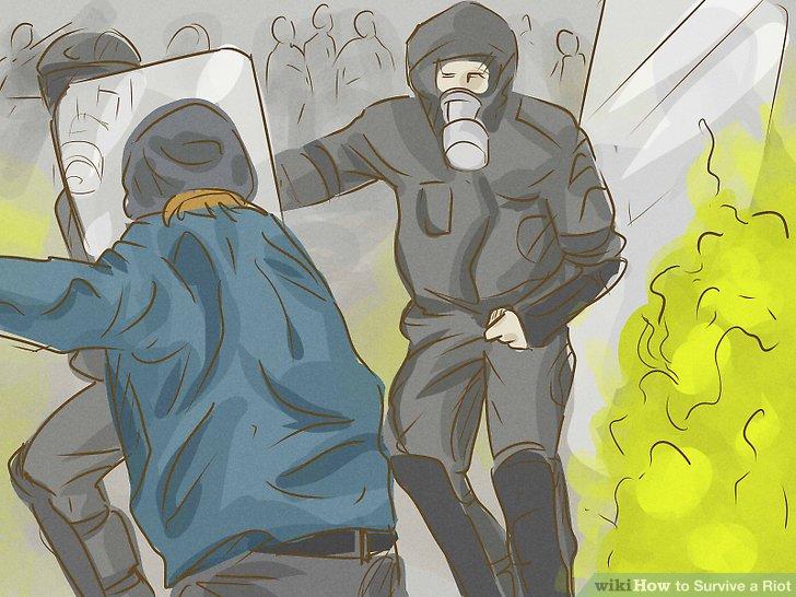 Vermeiden Sie es, von Chemikalien zur Aufstandsbekämpfung getroffen zu werden.