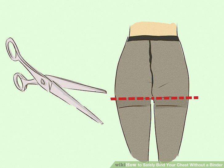 Suchen Sie sich eine Strumpfhose aus, die Sie nicht mehr tragen, und schneiden Sie sie im Schritt ab. Verwenden Sie Ihre Schere, um einen geraden Schnitt direkt über dem Beinende zu machen.