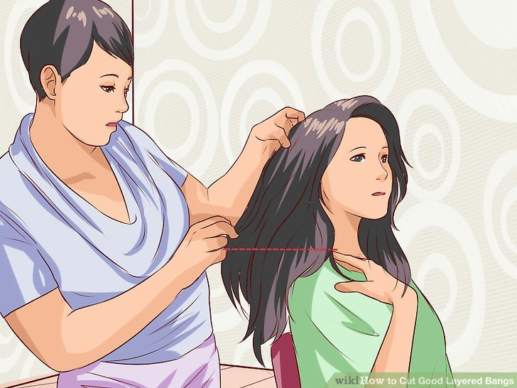 Hold bangs flat against your face with a comb.