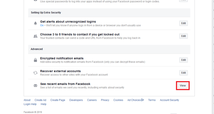 Check the list of recent emails from Facebook.