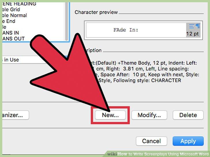 screenplay format microsoft word