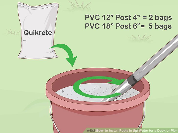 Mix quick-set concrete in buckets according to the package directions.