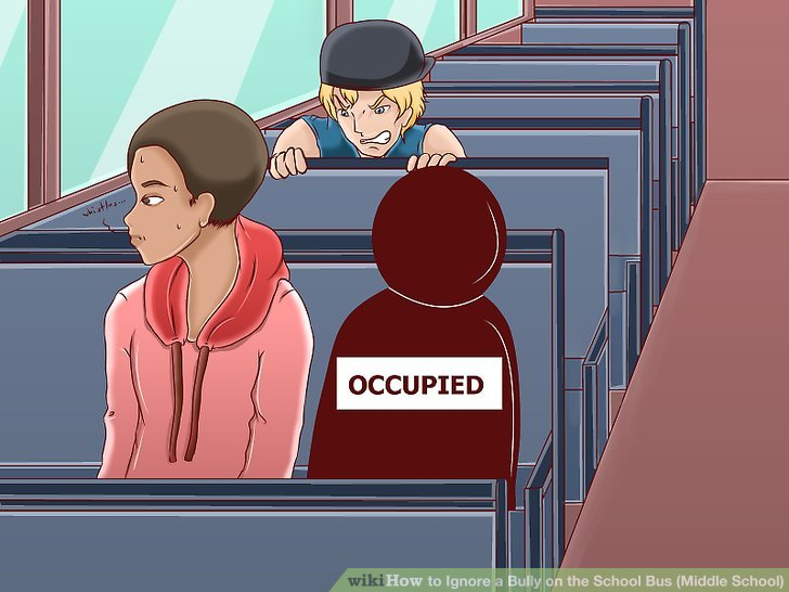 Sit in a seat by the window, then have someone you trust sit by you, or squeeze in past someone already sitting on the outer seat, so as to stop the bully sitting next to you.