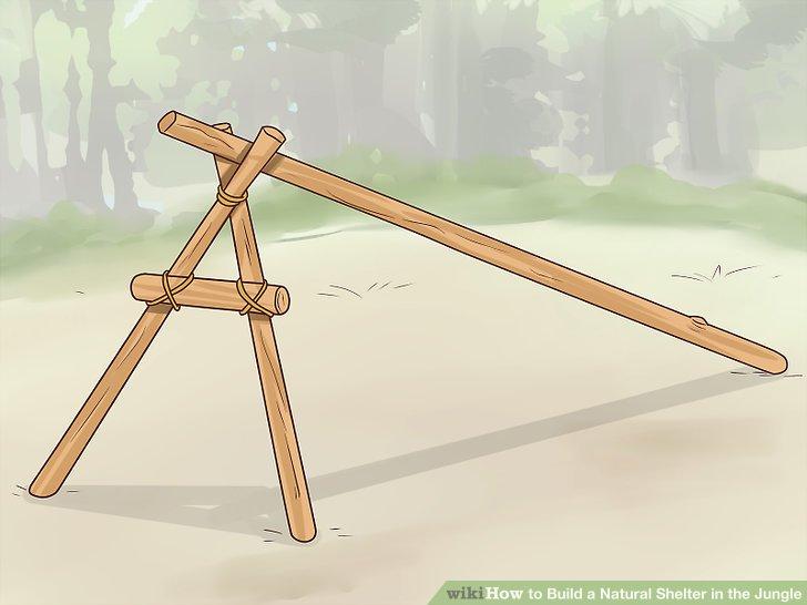 Binden Sie einen Stock, der 0,61 m (2 ft) höher ist als Sie, an die Oberseite des A-Rahmens.