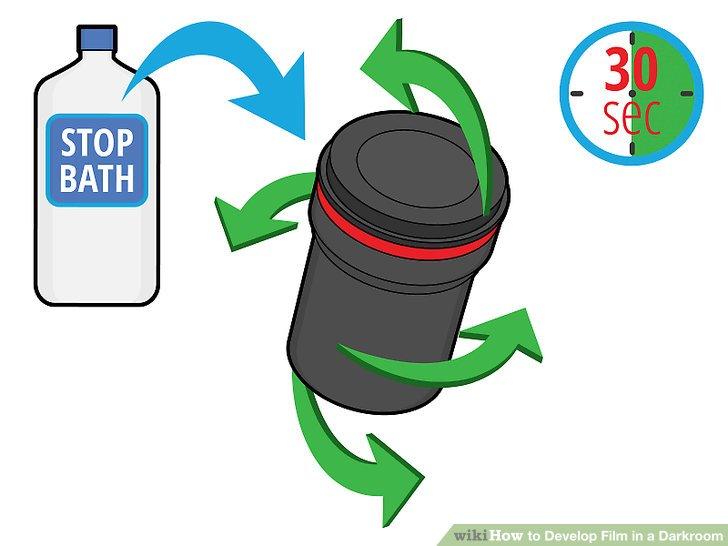Füllen Sie den Tank mit Stoppbad und bewegen Sie ihn 30 Sekunden lang.
