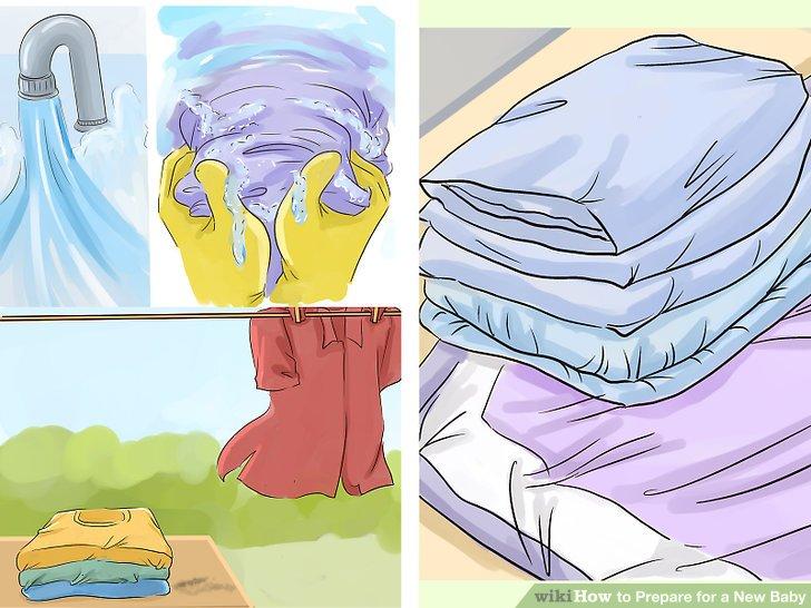 Waschen Sie Bettwäsche und Kleidung.