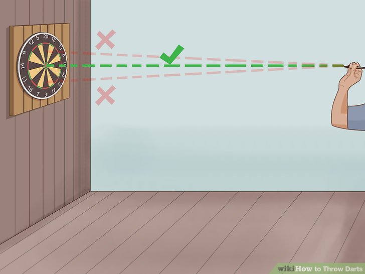 Align the tip of the dart with your target on the board.