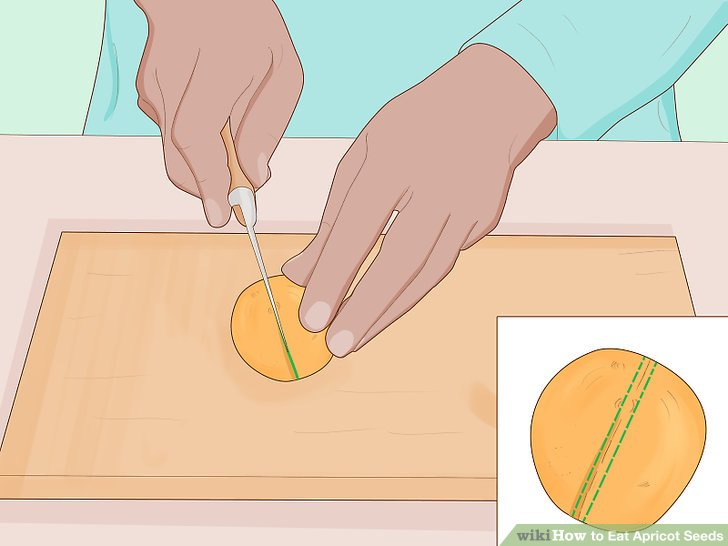 Mit einem scharfen Messer die Aprikose entlang der Naht halbieren.