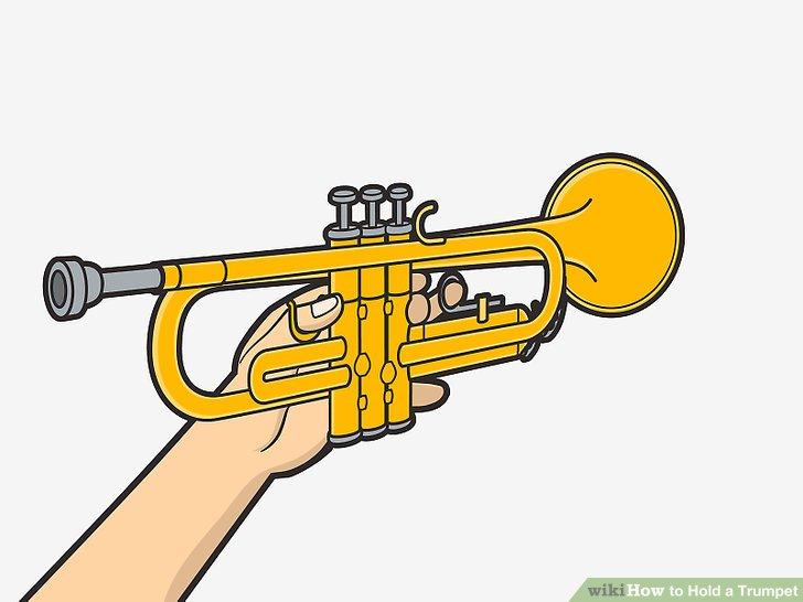 Fassen Sie die Trompete fest mit der linken Hand.