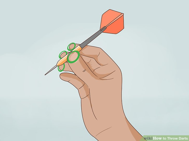 Hold the barrel of the dart with at least three fingers.