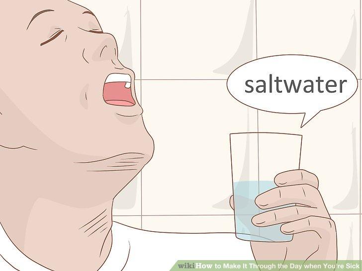 Gurgeln mit Salzwasser.