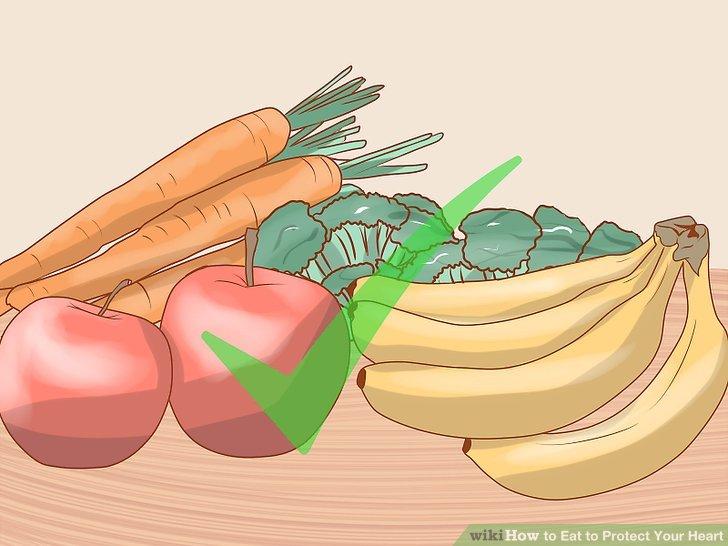 Essen Sie verschiedenes Obst und Gemüse.