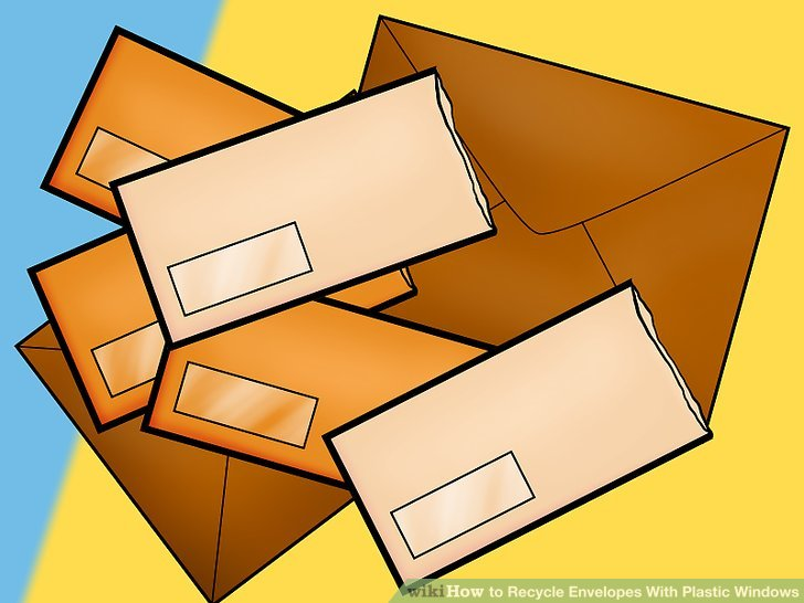 Entfernen Sie das Kunststofffenster von innen, wenn Ihr Recyclingbüro Kunststoff und Klebstoff nicht vom Umschlag trennen kann.