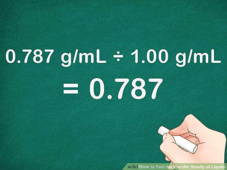 Berechnen Sie das Verhältnis der Dichte der Flüssigkeit zur Dichte des Wassers.