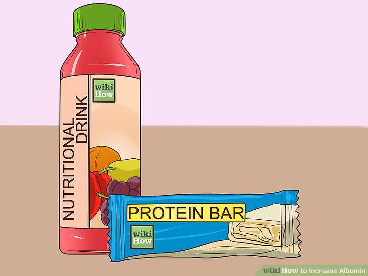 Betrachten Sie Ernährungsgetränke und Proteinriegel.