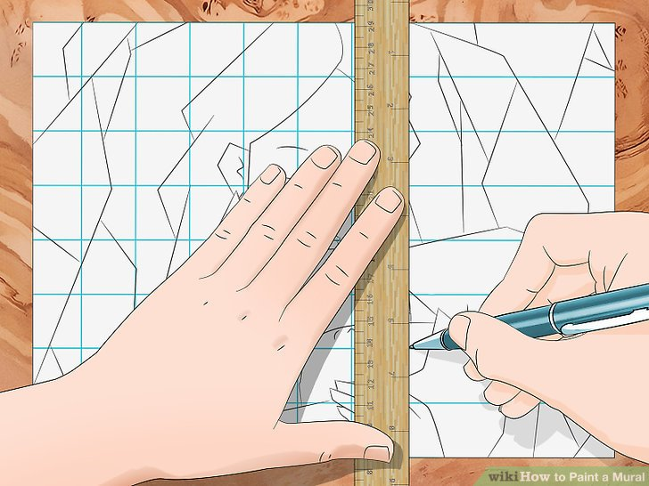 Create a grid over the design you drew on paper.
