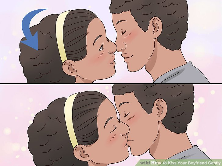 Neige deinen Kopf und drücke deine Lippen sanft auf seine.