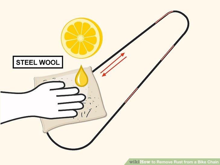 Entfernen Sie leichten Rost mit mit Limettensaft angefeuchteter Stahlwolle.