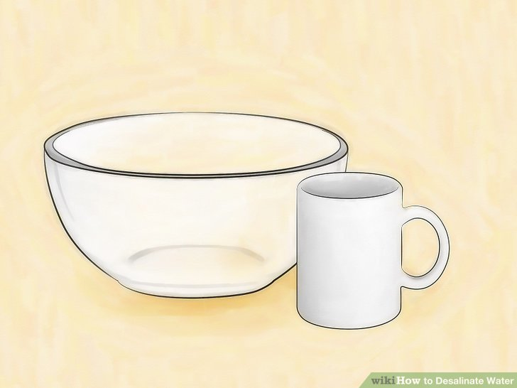 Get a heavy ceramic mug and a large glass bowl.