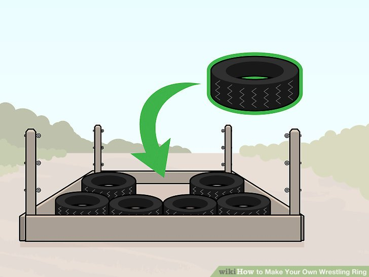 Line the bottom of your wrestling ring frame with tires or mattresses.