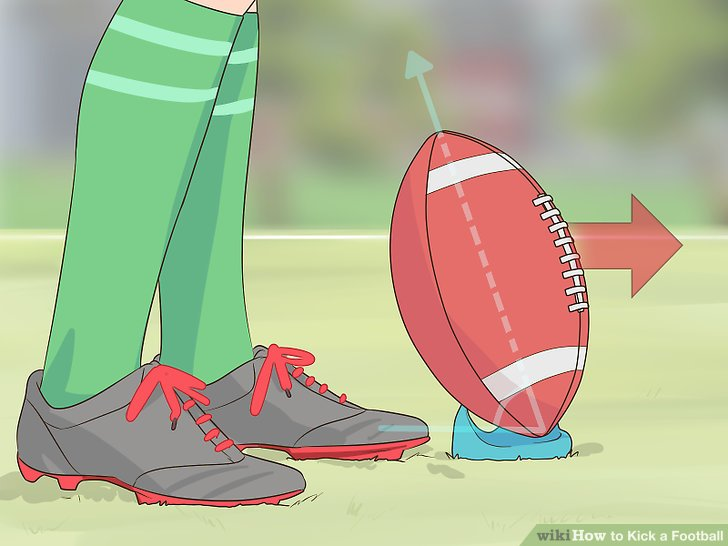 Stelle den Ball auf einen Abschlag.