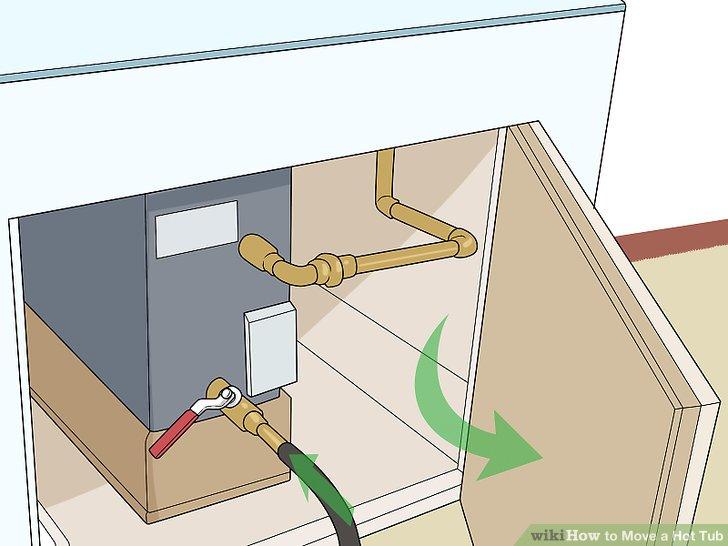 Öffnen Sie die Ablaufabdeckung und befestigen Sie einen Schlauch am Auslauf.