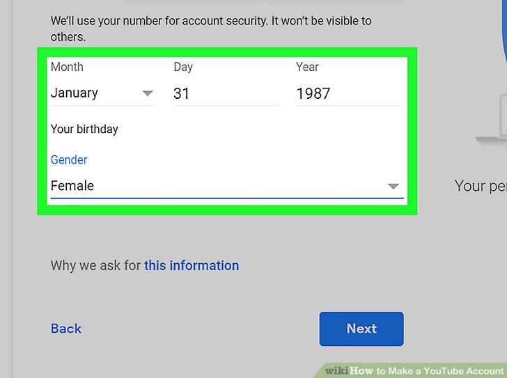 Geben Sie Ihr Geburtsdatum und Ihr Geschlecht ein.