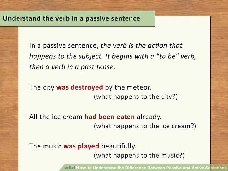 Understand the verb in a passive sentence.