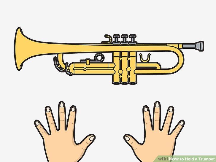 Halten Sie die Trompete gleich, egal ob Sie Rechts- oder Linkshänder sind.