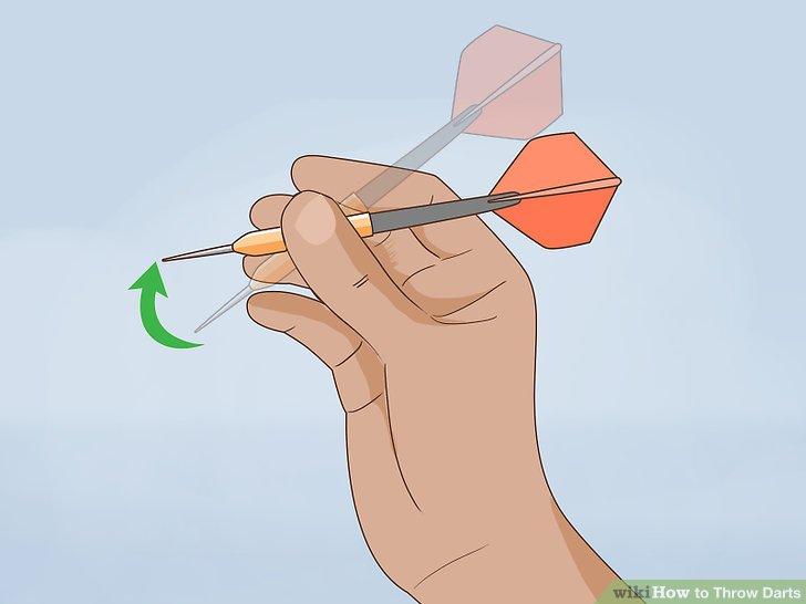 Tilt the tip of the dart slightly upward.