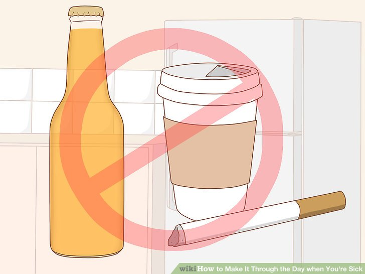 Vermeiden Sie Alkohol, Zigaretten und Koffein.