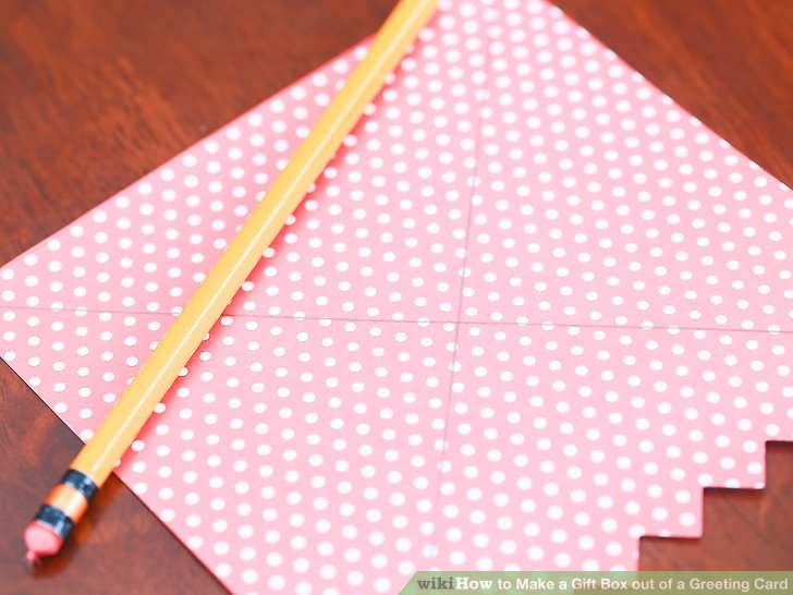 Draw a diagonal X on the back side of the card from corner to corner.