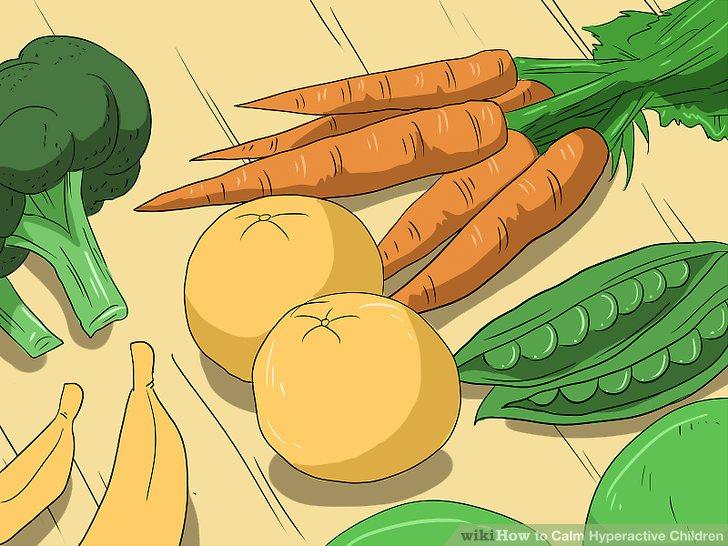 Viel Gemüse und Obst servieren.
