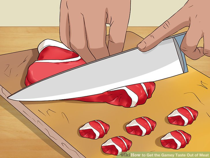 Cut the meat into pieces that will fit in a large bowl.