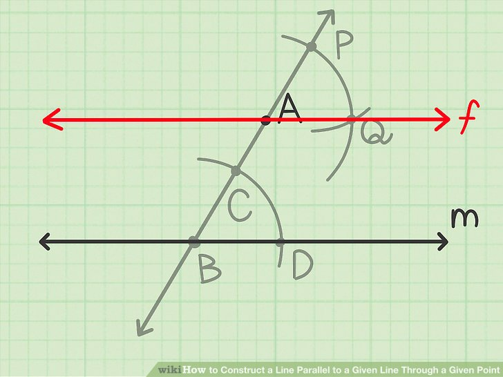 Draw a line through the given point and the point created by the two intersecting arcs.