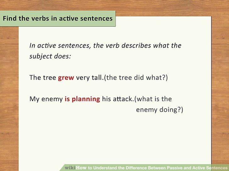 Find the verbs in active sentences.