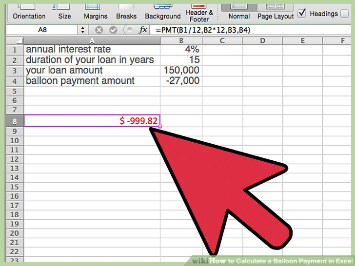 balloon payment excel