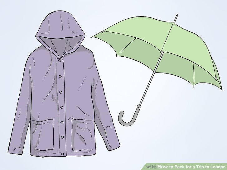 Nehmen Sie eine wasserdichte Jacke oder einen Regenschirm mit.
