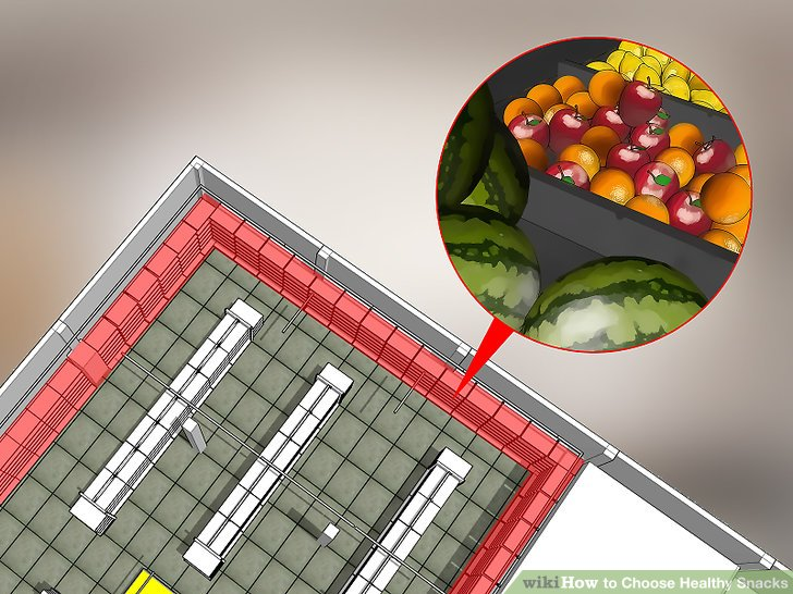 Halten Sie sich am äußeren Rand des Lebensmittelgeschäfts.