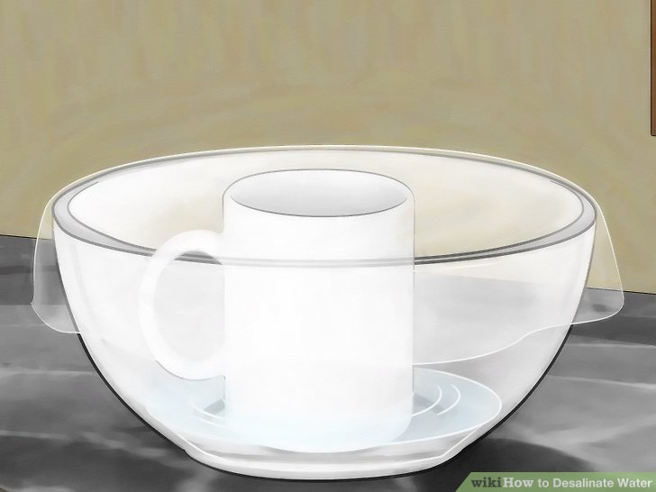 Cover the glass bowl with plastic cling wrap.