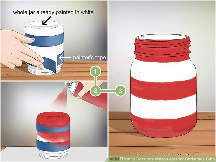 Paint a jar with red and white stripes for a festive look.