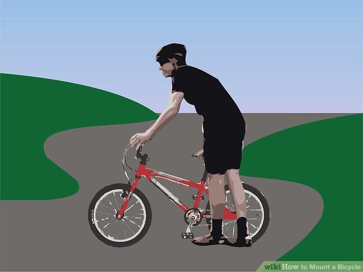 Stellen Sie sich auf die linke Seite Ihres Fahrrades.