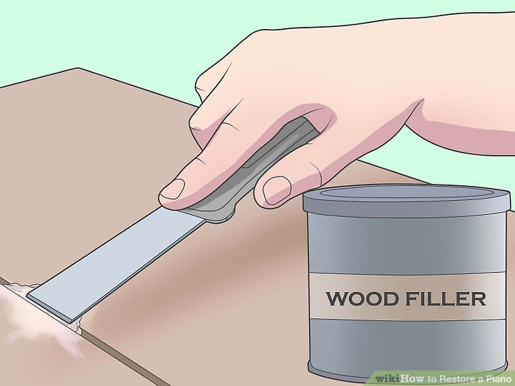 Use a wood filler to repair dings and dents.