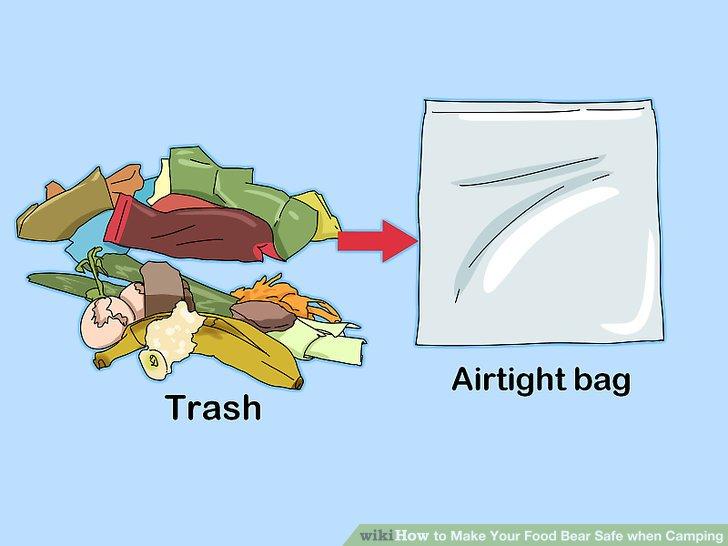 Tragen Sie Ihren Müll in luftdichten Plastiktüten.