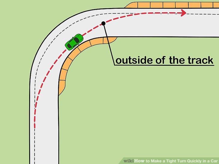 Zielen Sie nach der Außenseite der Strecke, wenn Sie die Kurve verlassen.