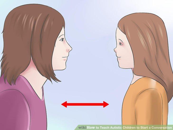 Bringen Sie Ihrem Kind bei, wie Sie während eines Gesprächs die richtige Entfernung einschätzen, die es einzuhalten gilt.