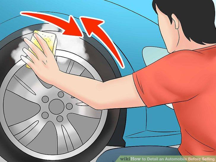 Rad und Reifenreiniger anwenden.