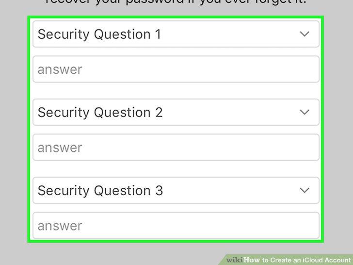 Erstellen Sie drei Sicherheitsfragen.