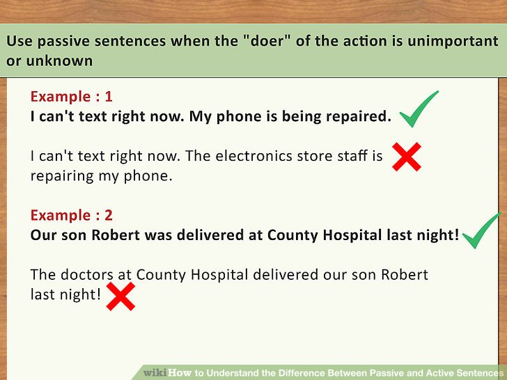 """Use passive sentences when the """"doer"""" of the action is unimportant or unknown."""