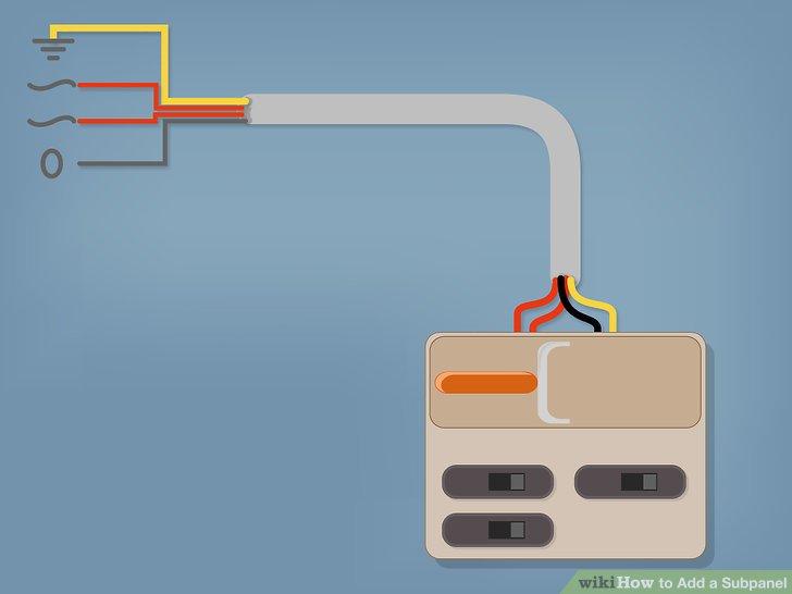 Verwenden Sie ein 4-adriges Kabel (für den Schutz des Leistungsschalters ausgelegt), um die Nebenplatte von der Hauptplatte aus zu versorgen.